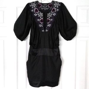 bebe 100% silk black minidress with embroidery XS